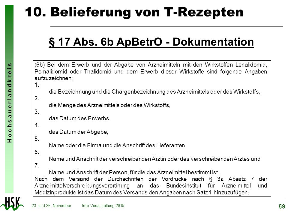 10. Belieferung von T-Rezepten