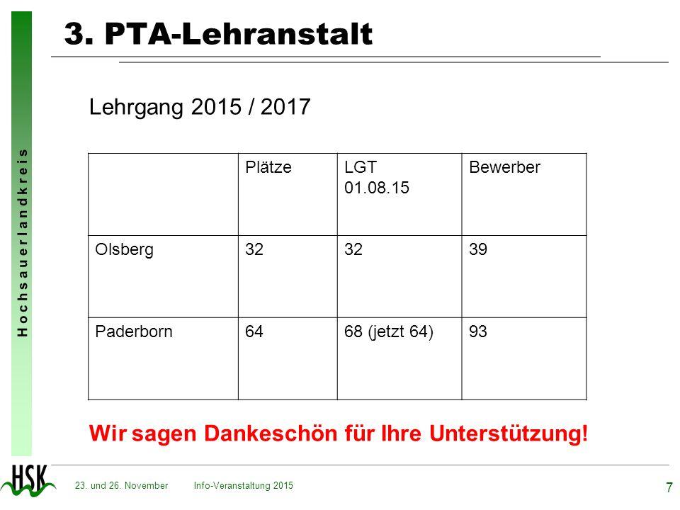 3. PTA-Lehranstalt Lehrgang 2015 / 2017