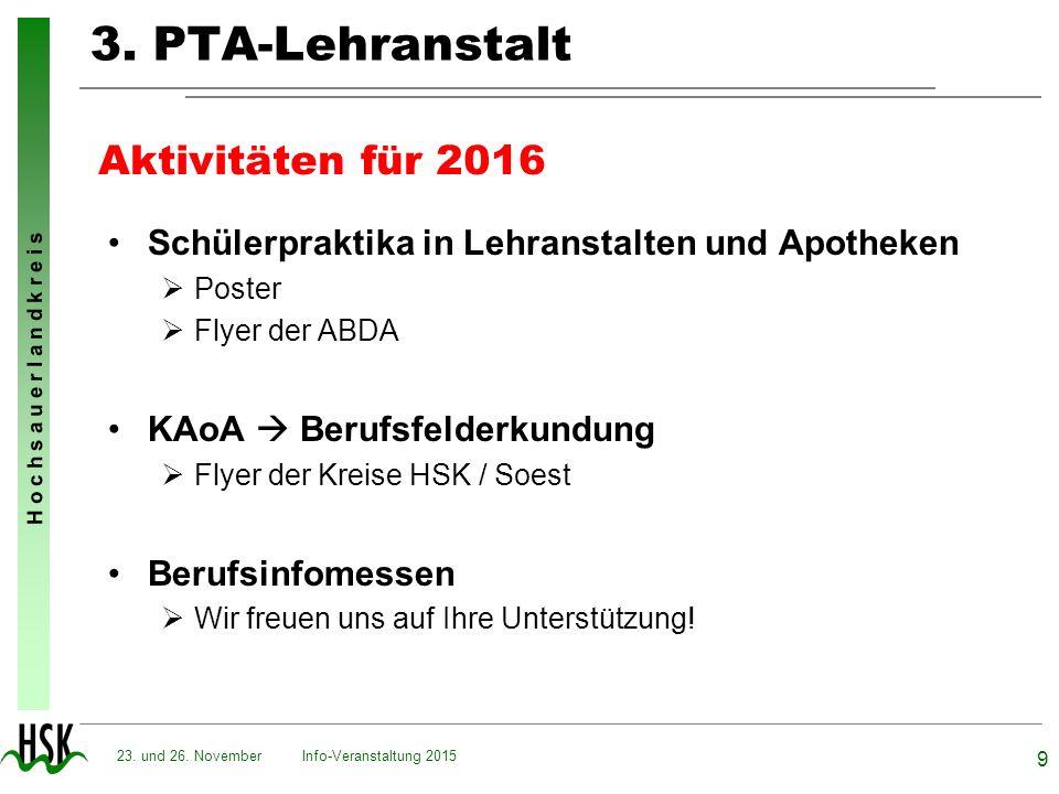 3. PTA-Lehranstalt Aktivitäten für 2016