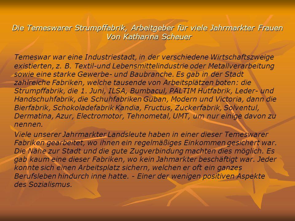 Die Temeswarer Strumpffabrik, Arbeitgeber für viele Jahrmarkter Frauen Von Katharina Scheuer