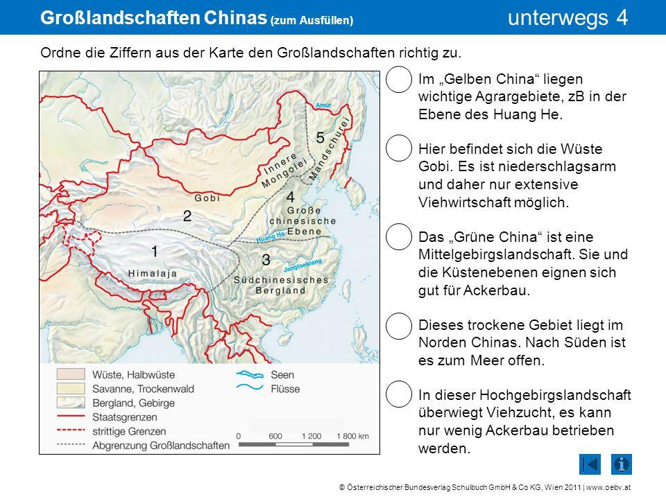 Großlandschaften Chinas (zum Ausfüllen)