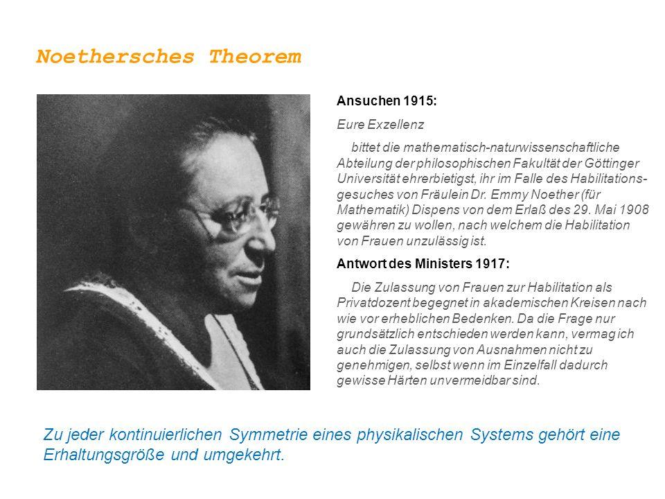Noethersches Theorem Ansuchen 1915: Eure Exzellenz.