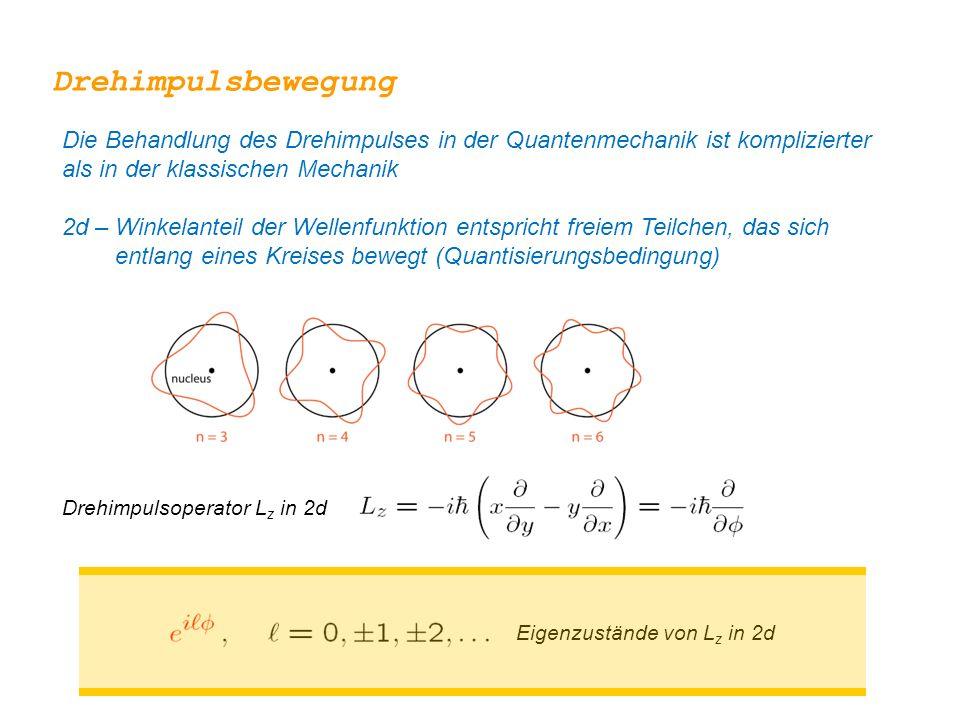 Drehimpulsbewegung Die Behandlung des Drehimpulses in der Quantenmechanik ist komplizierter als in der klassischen Mechanik.