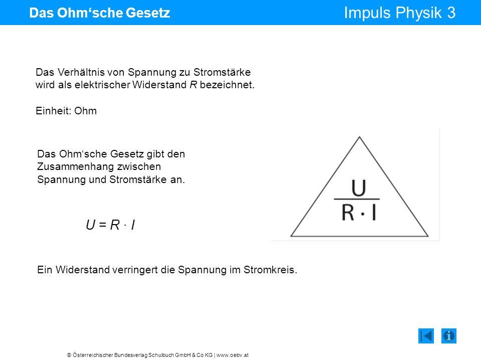 U = R · I Das Ohm'sche Gesetz