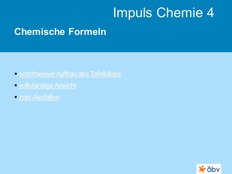 Chemische Formeln schrittweiser Aufbau des Tafelbildes