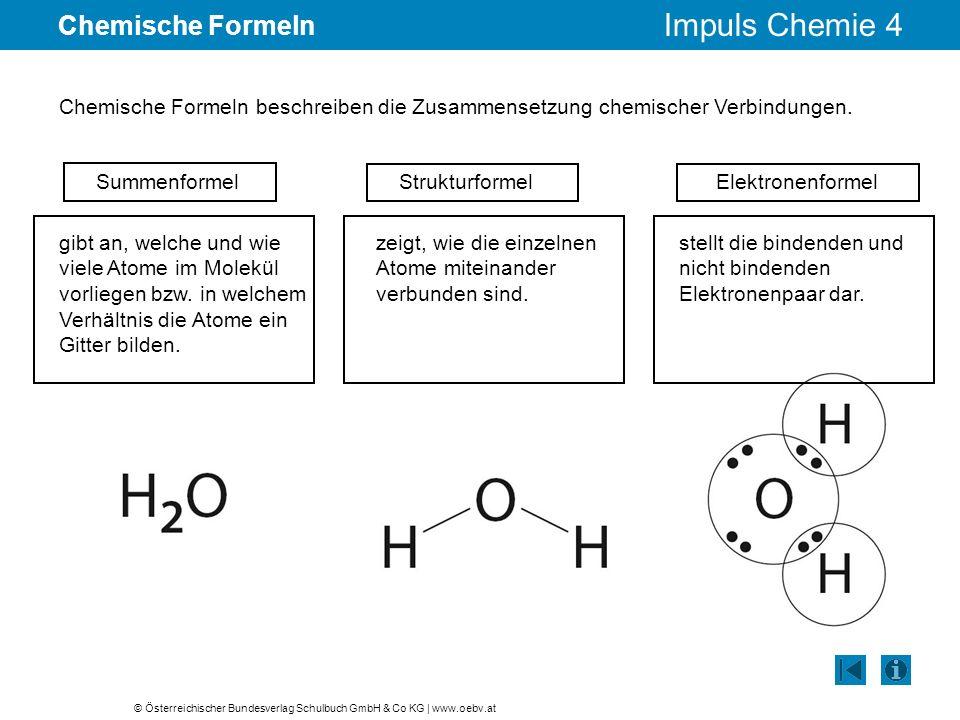 Chemische Formeln Chemische Formeln beschreiben die Zusammensetzung chemischer Verbindungen. Summenformel.