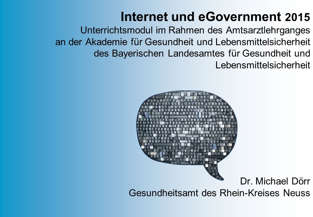 Dr. Michael Dörr Gesundheitsamt des Rhein-Kreises Neuss