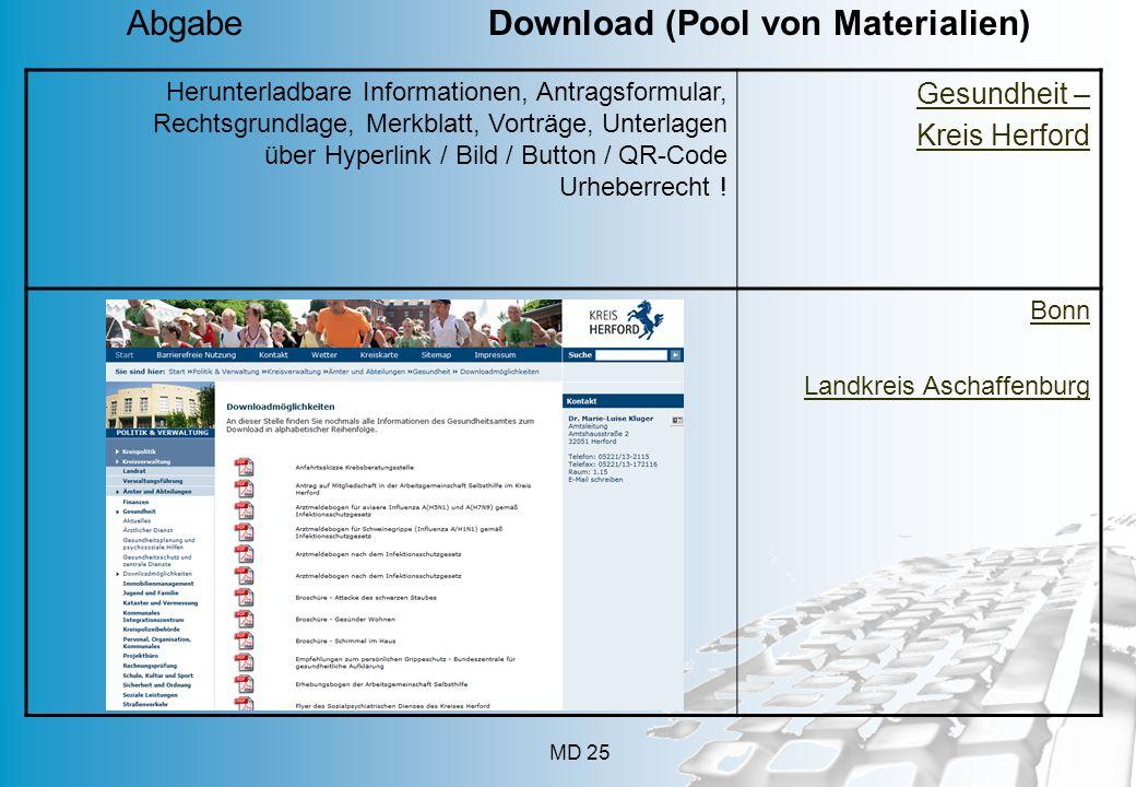 Abgabe Download (Pool von Materialien)