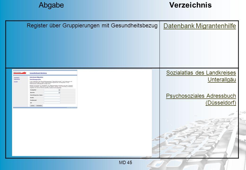 Abgabe Verzeichnis Datenbank Migrantenhilfe