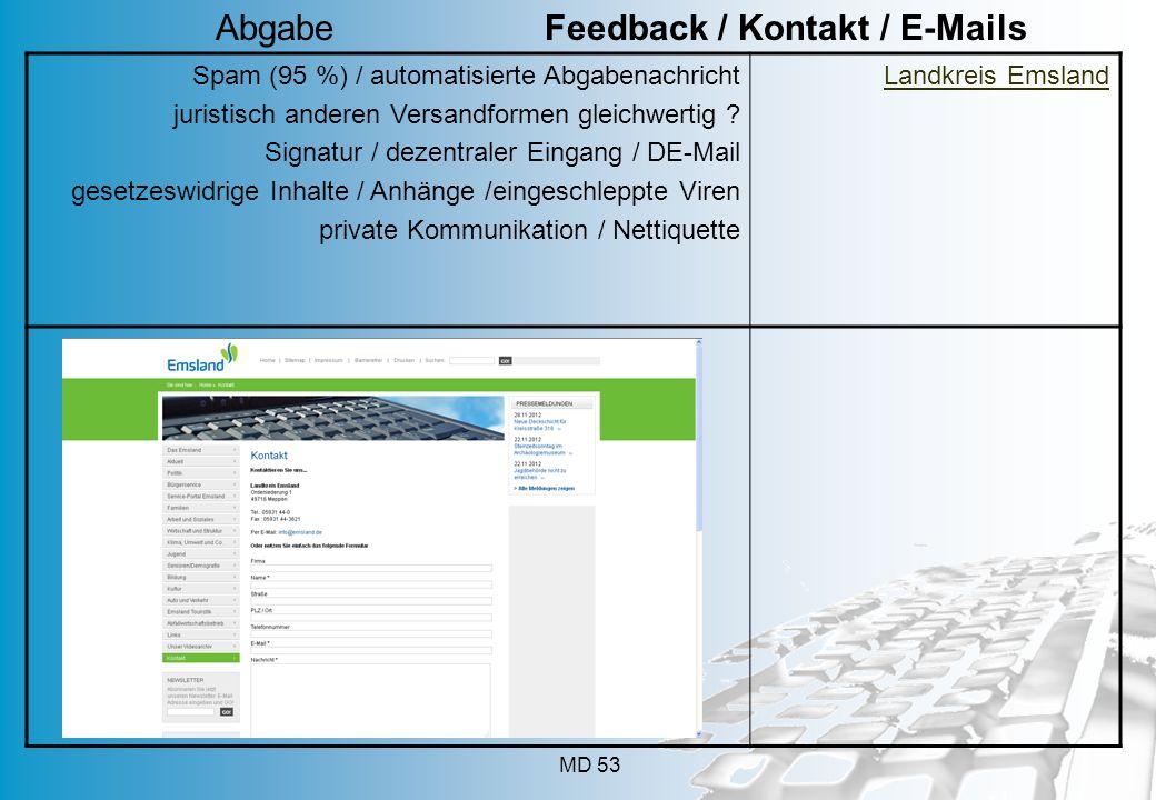 Abgabe Feedback / Kontakt / E-Mails