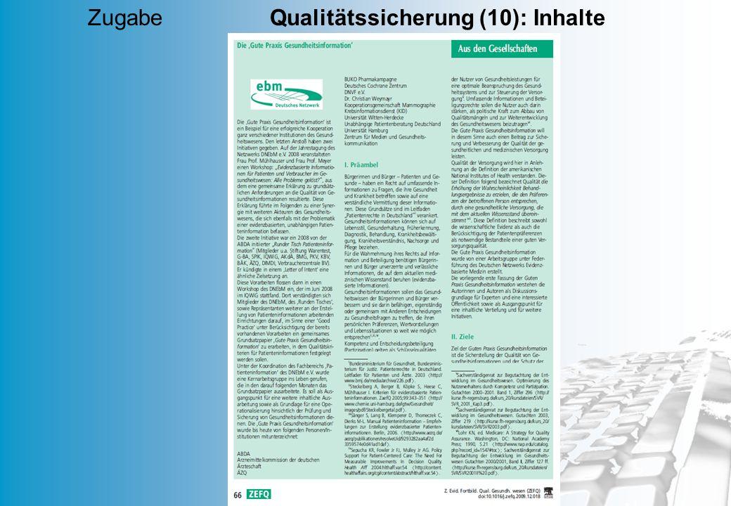 Zugabe Qualitätssicherung (10): Inhalte