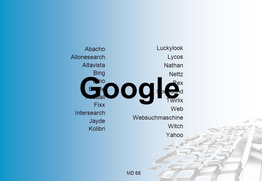 Google Luckylook Abacho Lycos Allonesearch Nathan Altavista Nettz Bing