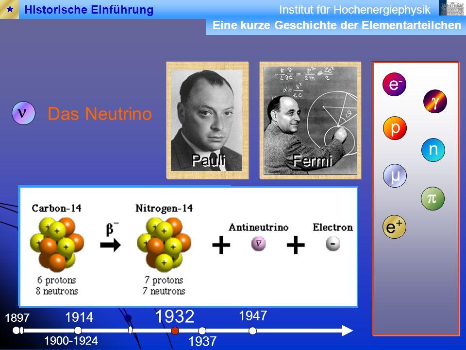 e- g n Das Neutrino p n µ p e+ 1932 Pauli Fermi 1947 1914 1937 