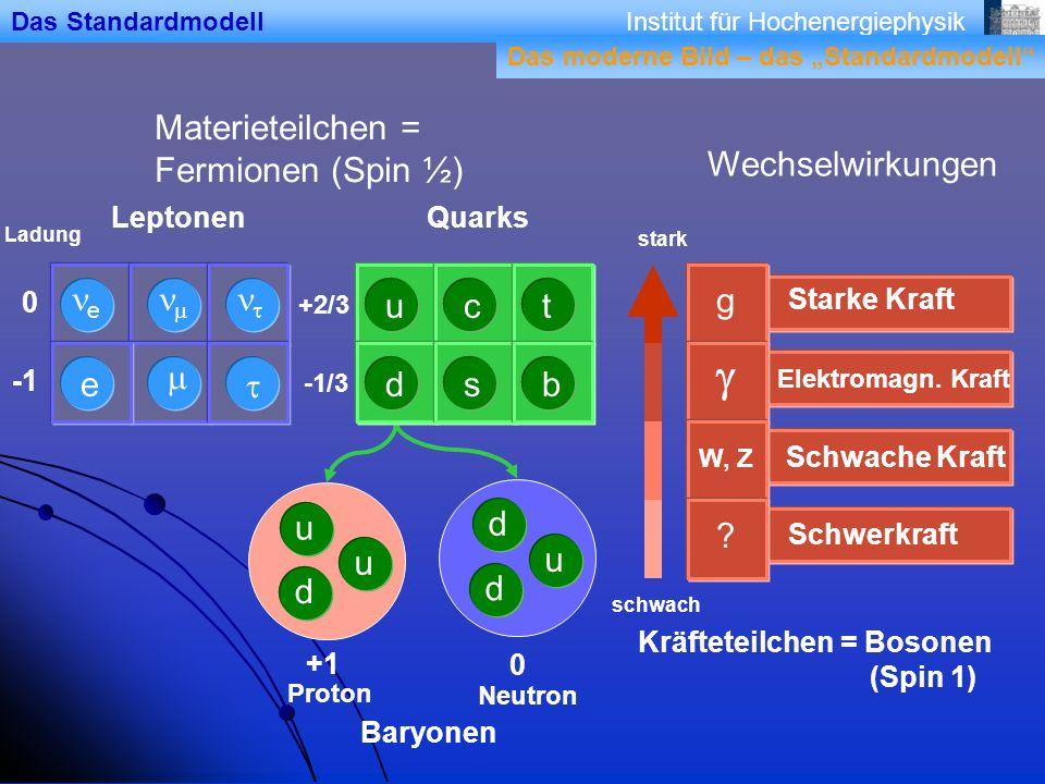 g Materieteilchen = Fermionen (Spin ½) Wechselwirkungen ne nm nt u c