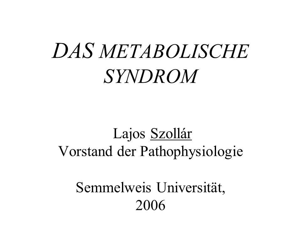 DAS METABOLISCHE SYNDROM Lajos Szollár Vorstand der Pathophysiologie Semmelweis Universität, 2006