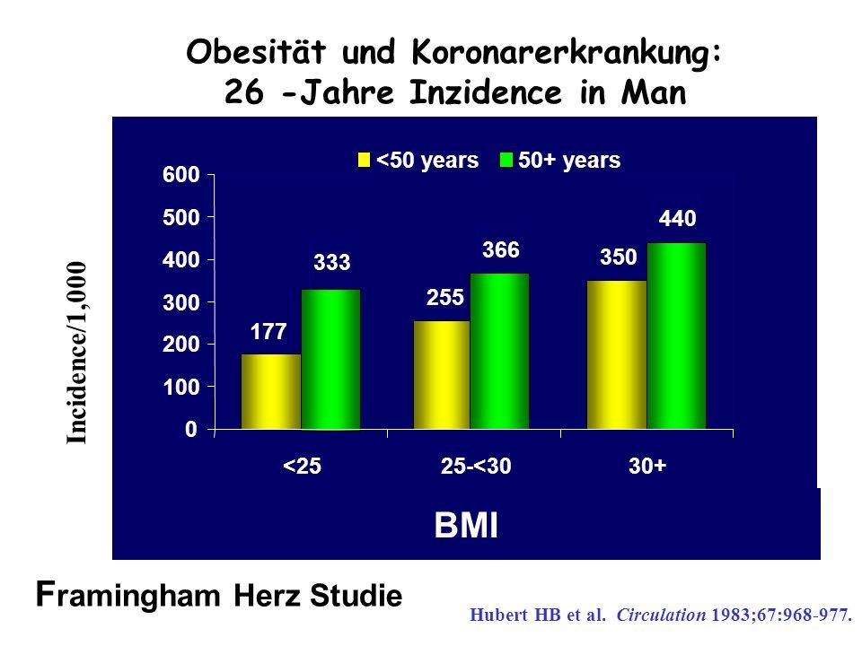 Obesität und Koronarerkrankung: 26 -Jahre Inzidence in Man