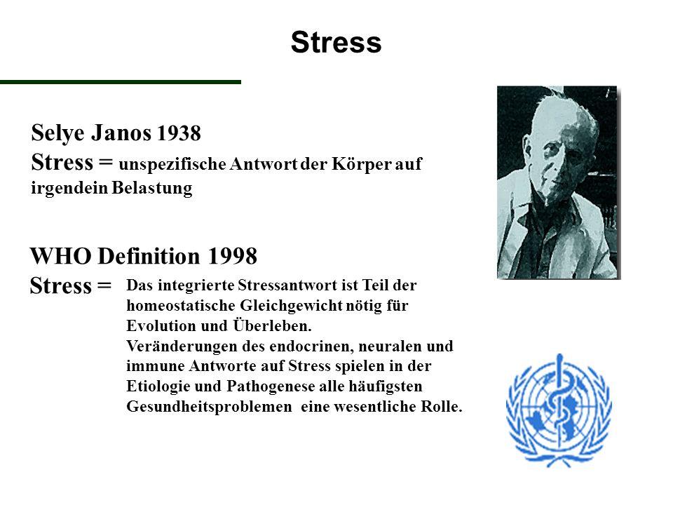 Stress Selye Janos 1938 Stress = unspezifische Antwort der Körper auf irgendein Belastung. WHO Definition 1998 Stress =