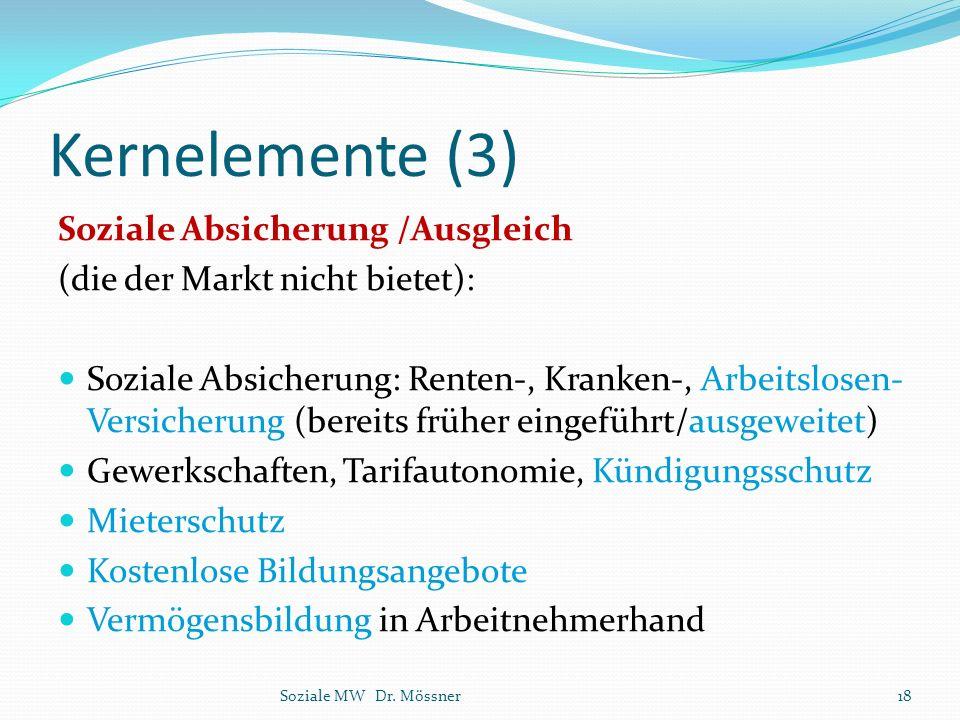 Kernelemente (3) Soziale Absicherung /Ausgleich
