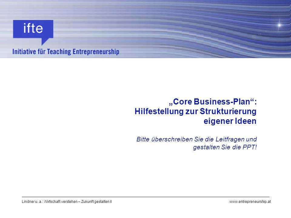 """""""Core Business-Plan : Hilfestellung zur Strukturierung eigener Ideen"""