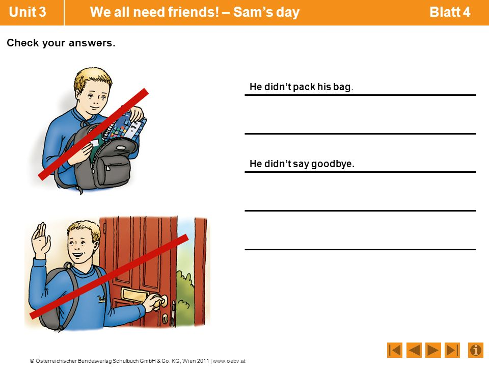 Unit 3 We all need friends! – Sam's day Blatt 4
