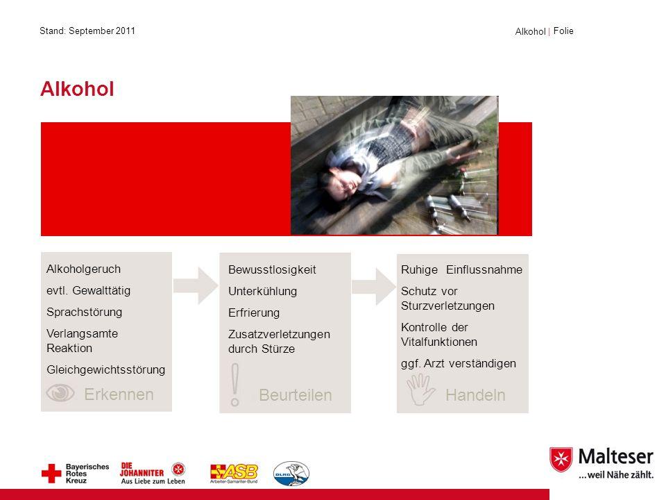 Alkohol Erkennen Beurteilen Handeln Alkoholgeruch evtl. Gewalttätig