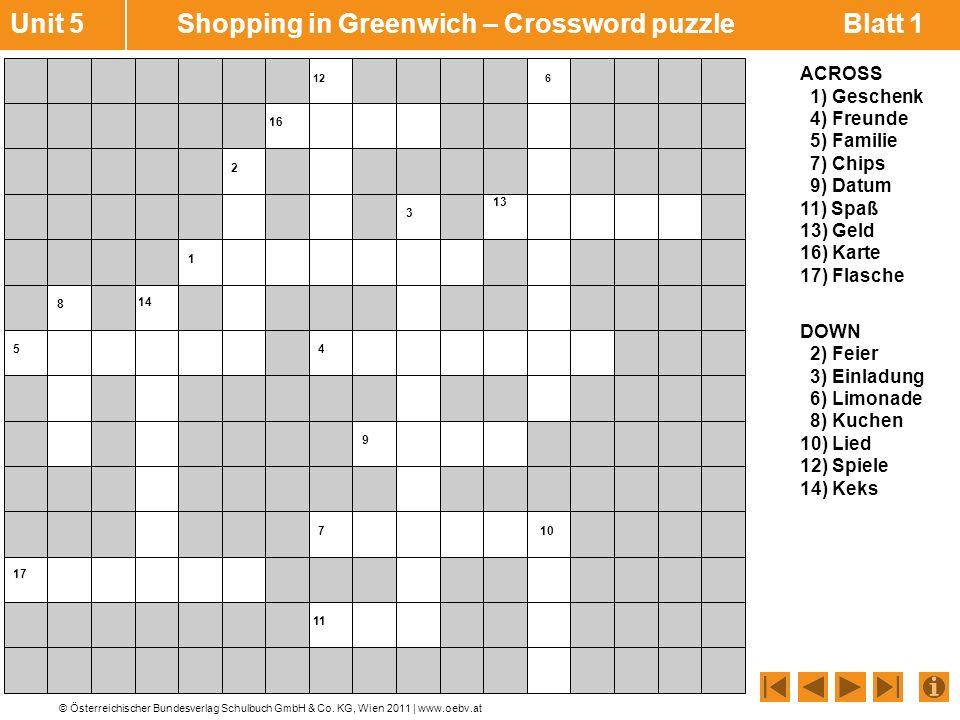 Unit 5 Shopping in Greenwich – Crossword puzzle Blatt 1