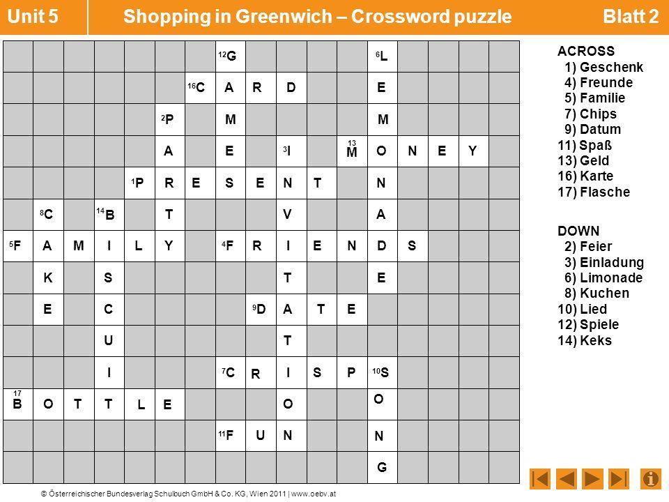 Unit 5 Shopping in Greenwich – Crossword puzzle Blatt 2