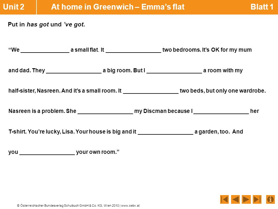 Unit 2 At home in Greenwich – Emma's flat Blatt 1