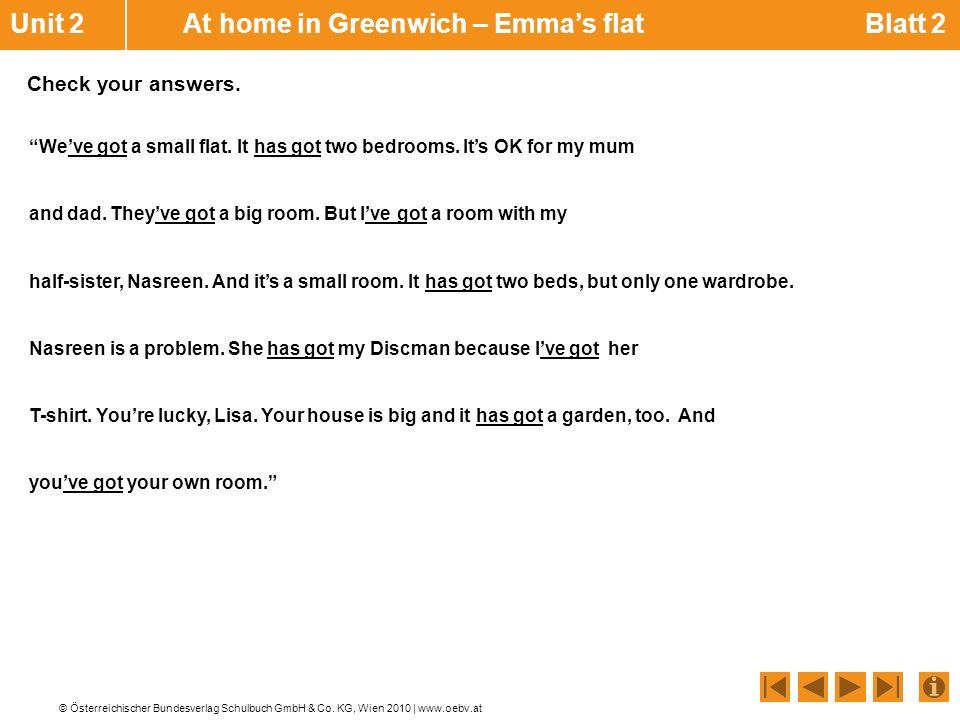 Unit 2 At home in Greenwich – Emma's flat Blatt 2