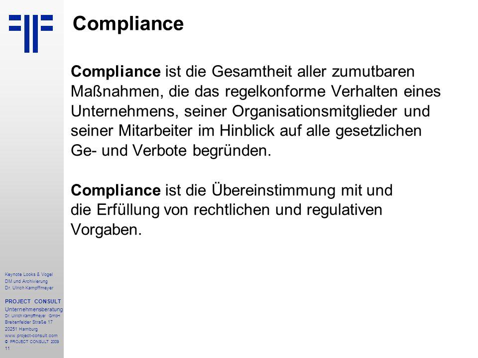 Compliance Compliance ist die Gesamtheit aller zumutbaren