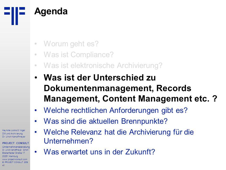 Agenda Worum geht es Was ist Compliance Was ist elektronische Archivierung
