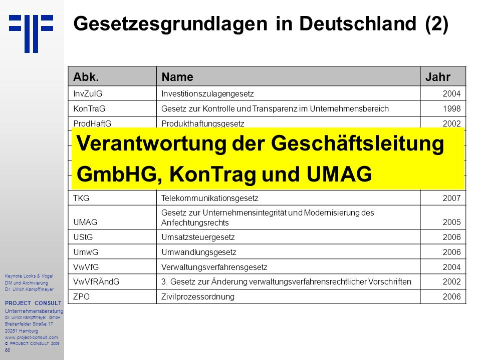 Gesetzesgrundlagen in Deutschland (2)