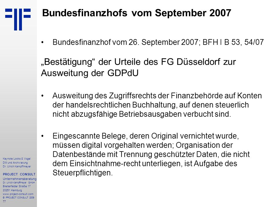 Bundesfinanzhofs vom September 2007