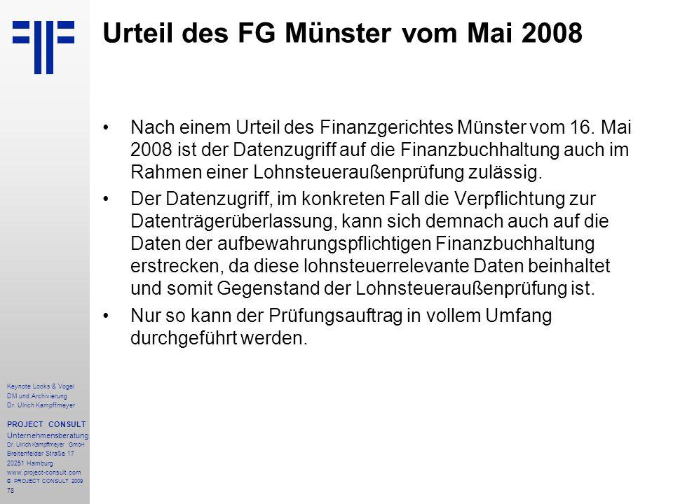 Urteil des FG Münster vom Mai 2008