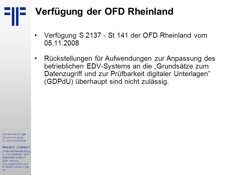 Verfügung der OFD Rheinland