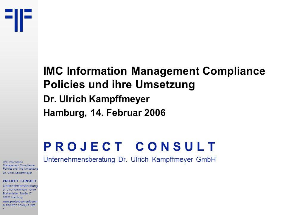 IMC Information Management Compliance Policies und ihre Umsetzung