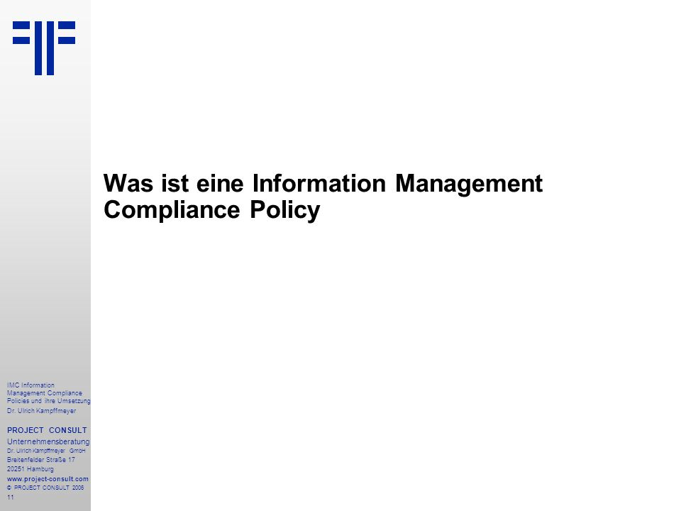 Was ist eine Information Management Compliance Policy