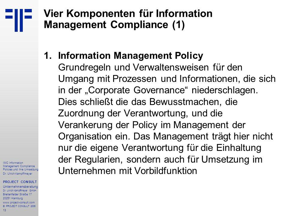 Vier Komponenten für Information Management Compliance (1)