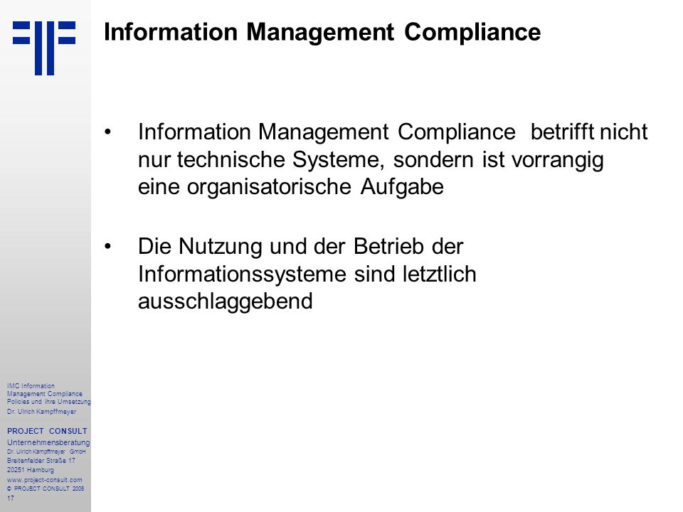 Information Management Compliance