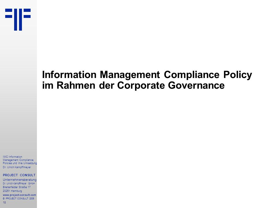 Information Management Compliance Policy im Rahmen der Corporate Governance