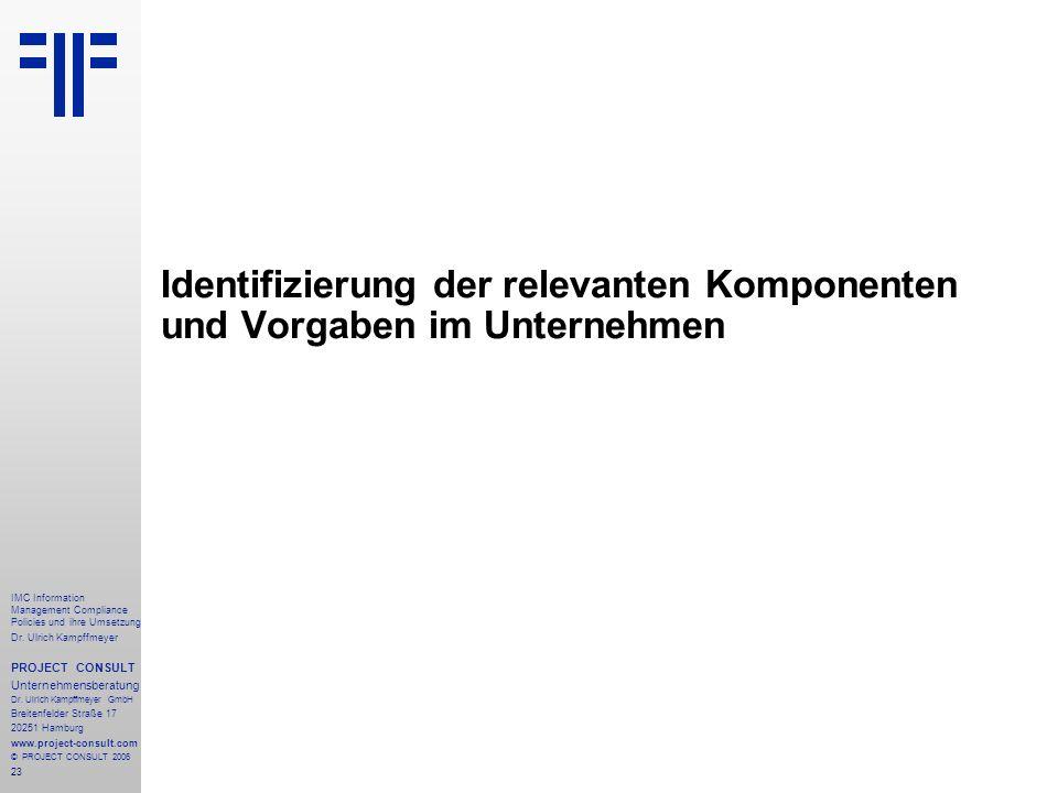 Identifizierung der relevanten Komponenten und Vorgaben im Unternehmen