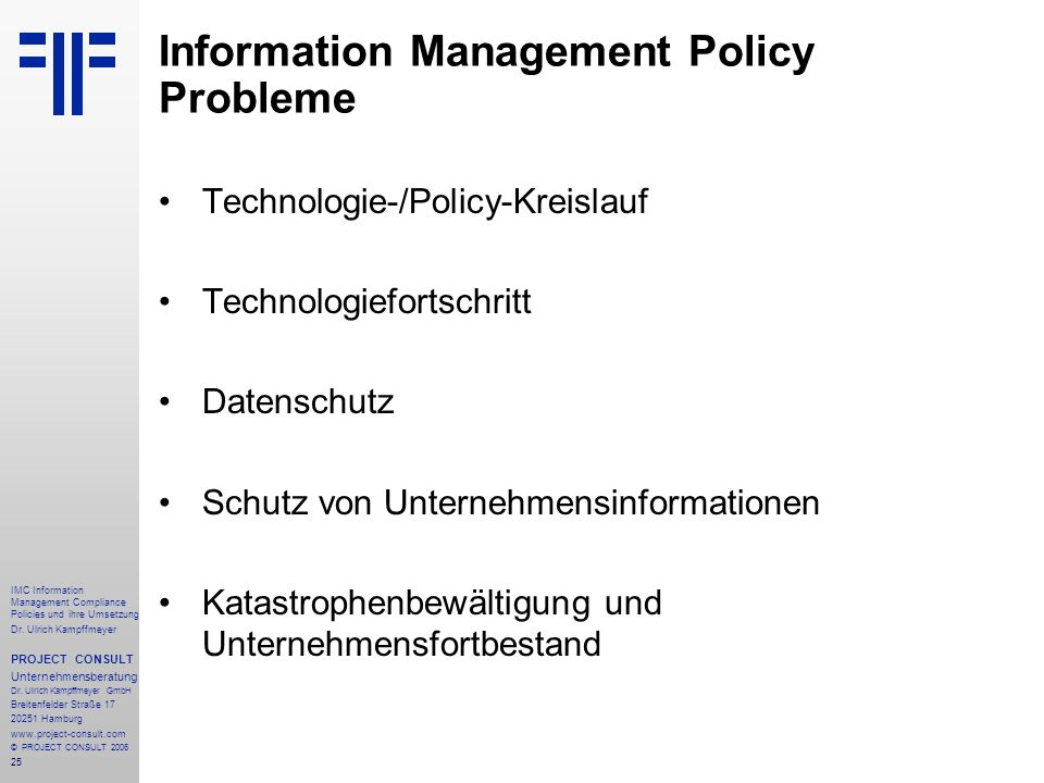 Information Management Policy Probleme
