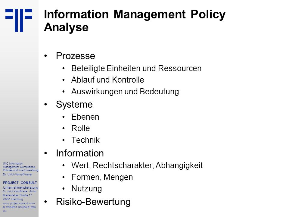 Information Management Policy Analyse
