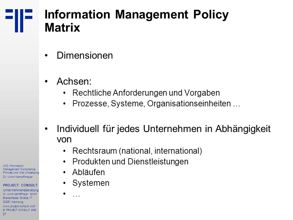 Information Management Policy Matrix