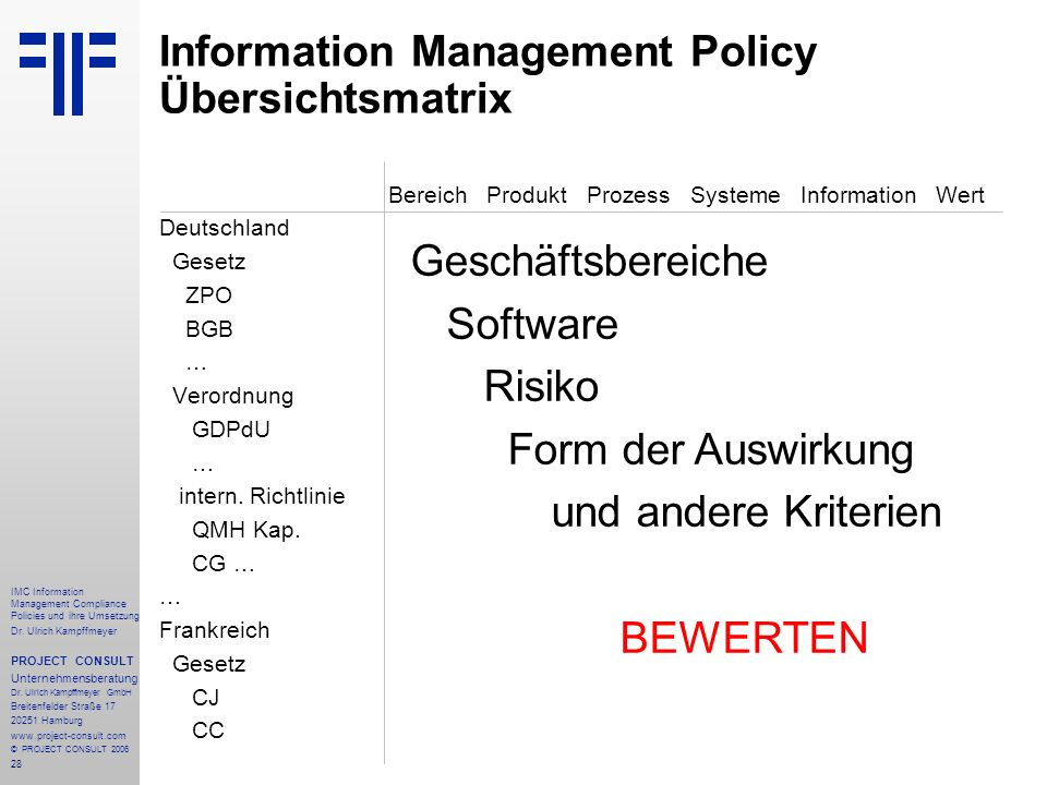 Information Management Policy Übersichtsmatrix