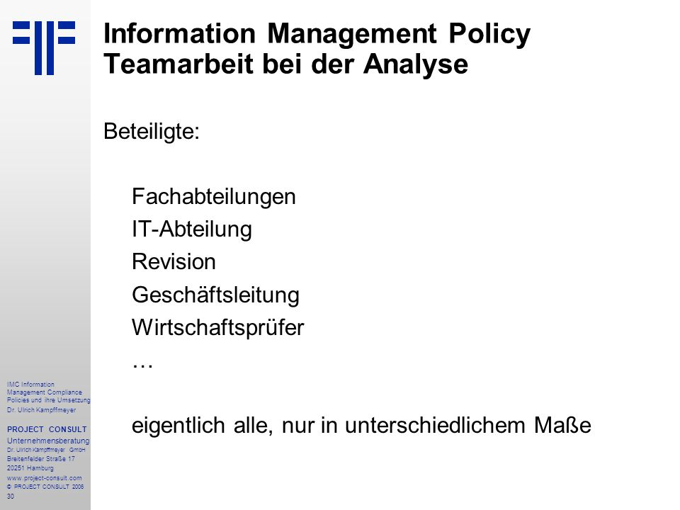Information Management Policy Teamarbeit bei der Analyse