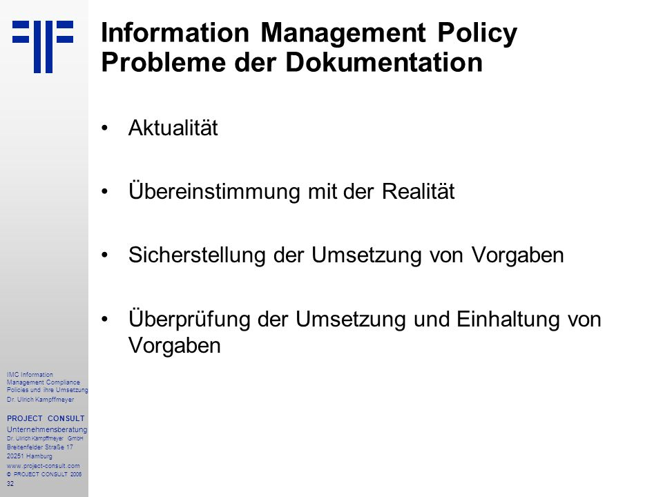 Information Management Policy Probleme der Dokumentation