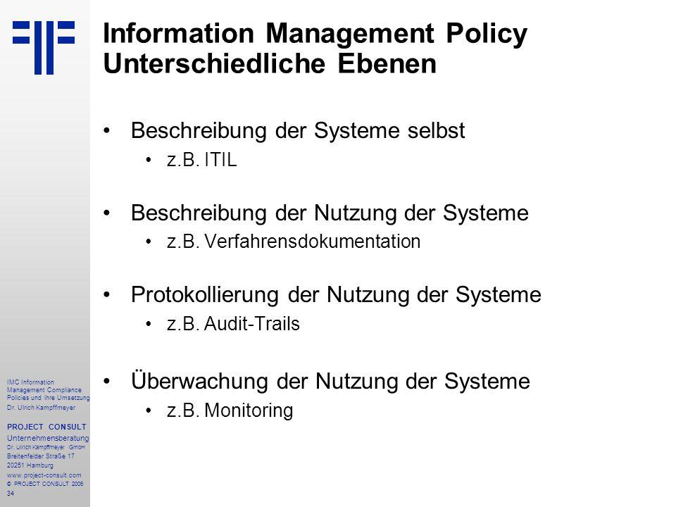 Information Management Policy Unterschiedliche Ebenen