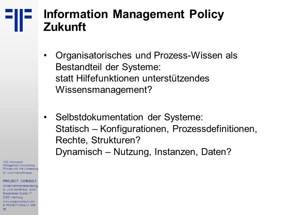 Information Management Policy Zukunft