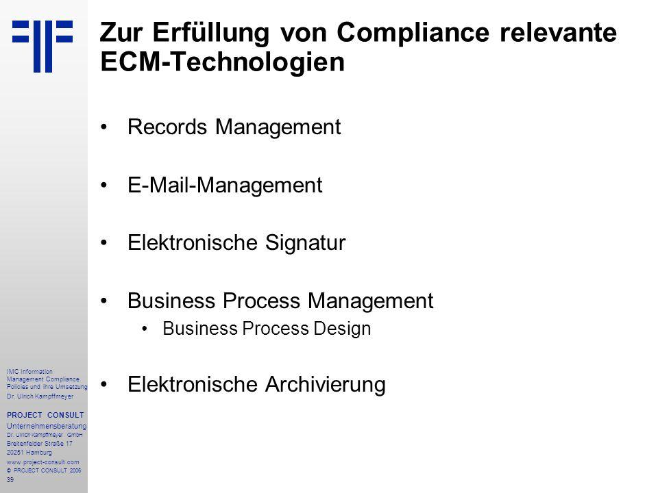 Zur Erfüllung von Compliance relevante ECM-Technologien